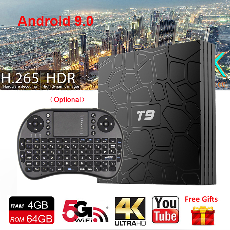 New Smart TV BOX Android 9.0 Support H.265 Netflix Youtube 100M LAN 4K Video Media Player RK3328 4GB Ram 64GB Rom TV Receiver T9