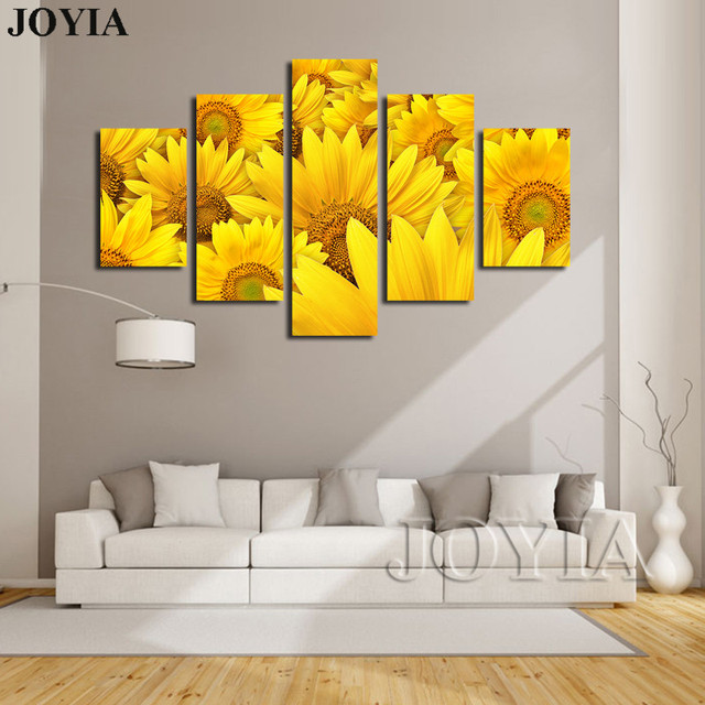 5 Piece Canvas Prints Blooming Yellow Sunflowers Paintings Floral ...