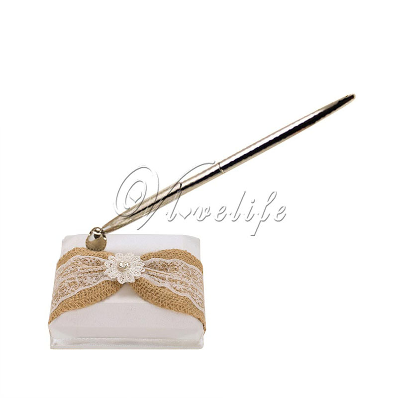 White Wedding Pen And Stand Set With Burlap Lace Bow Flower For Event Party Favors Decor Holders In Diy Decorations From Home