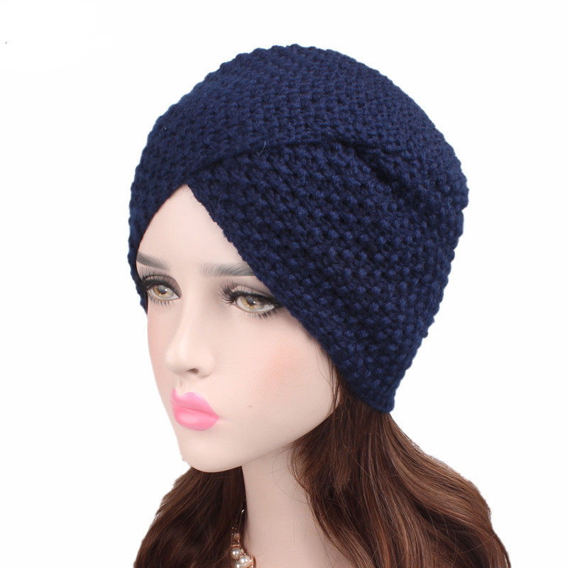 Winter Knitted Women Hijab Turban Hat Soft Knitted Beanie Crochet Twist knitted Cap Wool Hats Ccap
