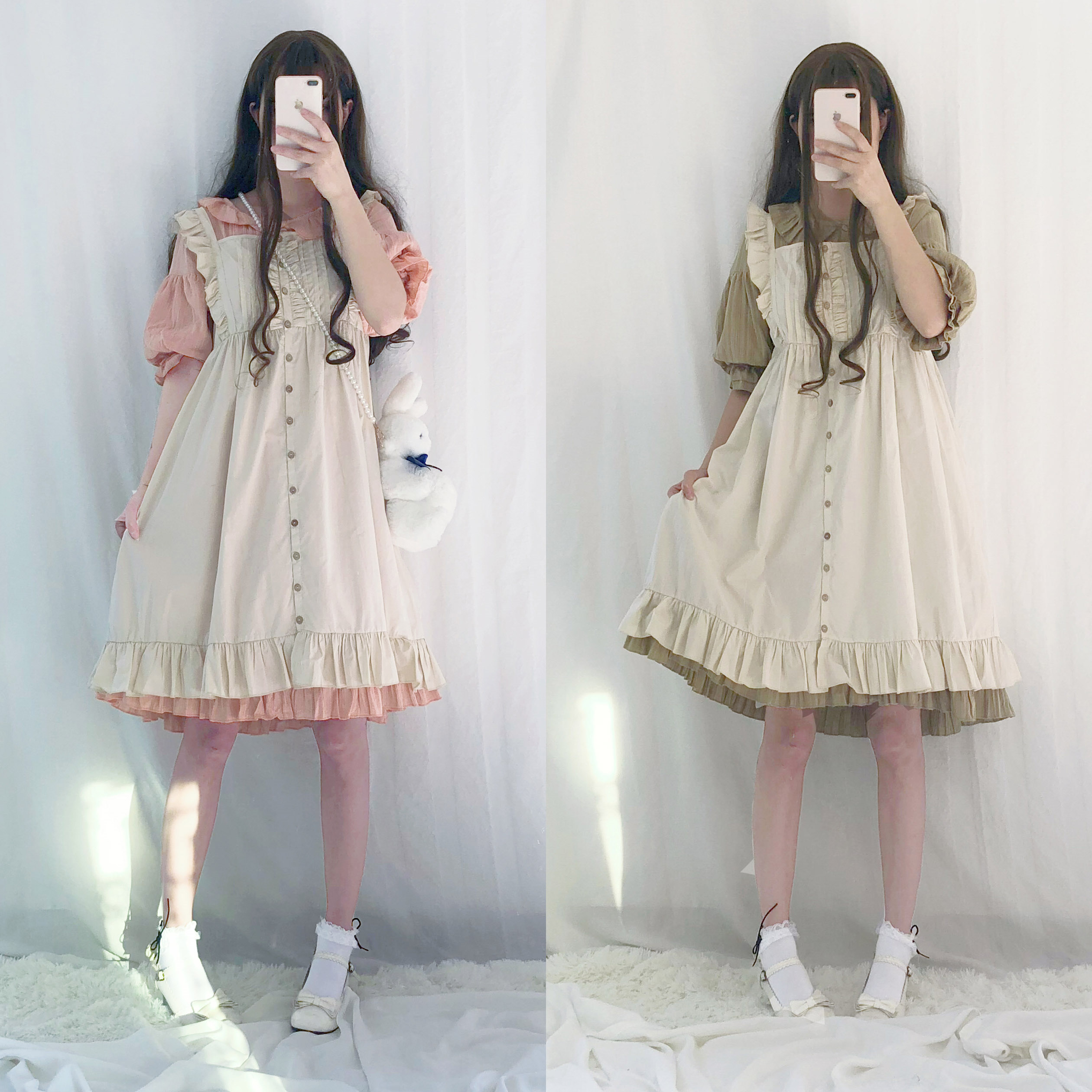 Tree&Sea Lolita Flounced Dress Japanese Kawaii Girls Maid Vintage Lace Bubble dress with aproon Tee party