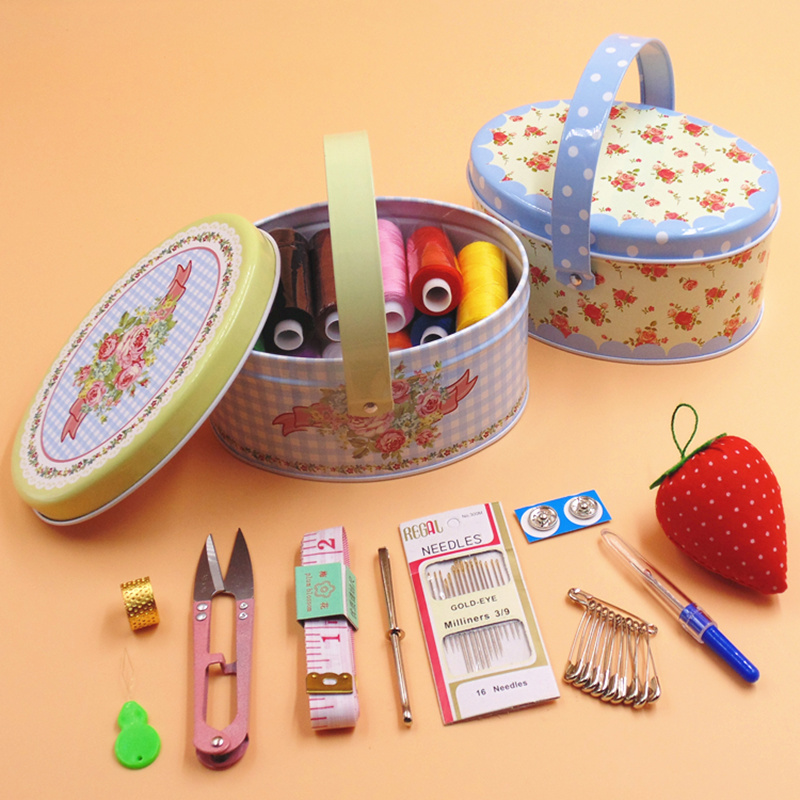 Portable practical sewing kit with metal tin storage box for Sewing and craft supplies