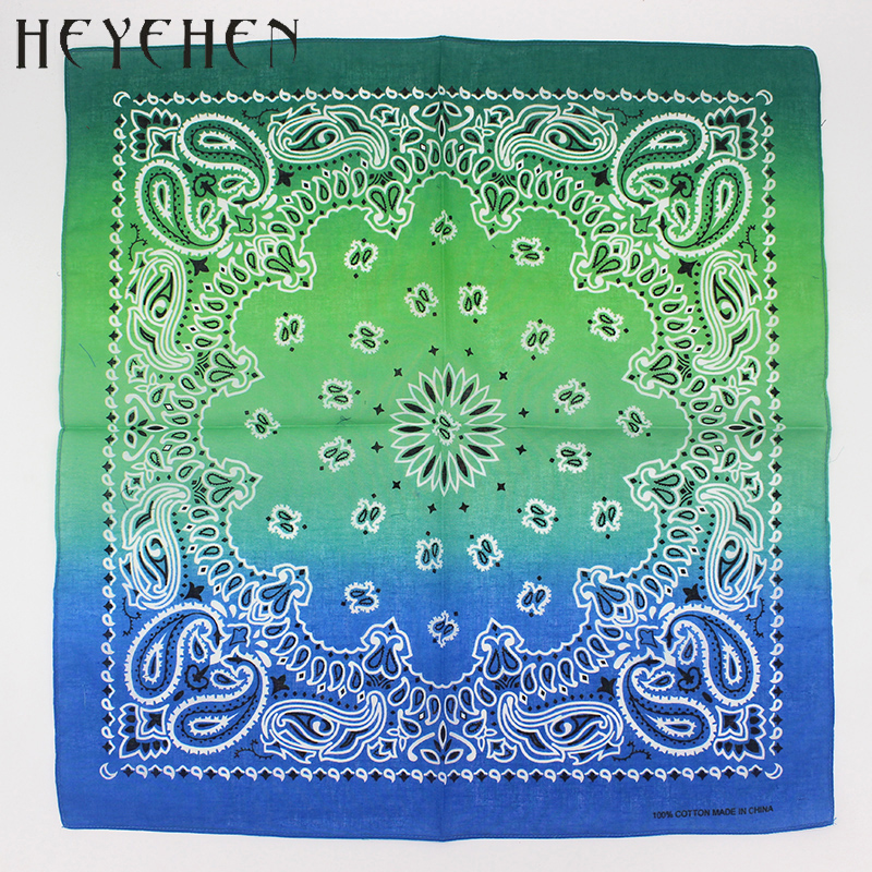 0ab0e4bdea0 2018 New Fashion Hip Hop 100% Cotton Bandana Square Scarf Gradient color Paisley  Headband Printed For Women Men Boys Girls -in Men s Scarves from Apparel ...