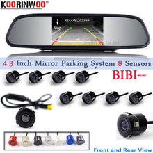Koorinwoo Car Parking Sensor 8 Redars BIBI Alarm Sound Monitor Mirror LCD Screen Front Camera Car Rear view Camera Parktronic(China)