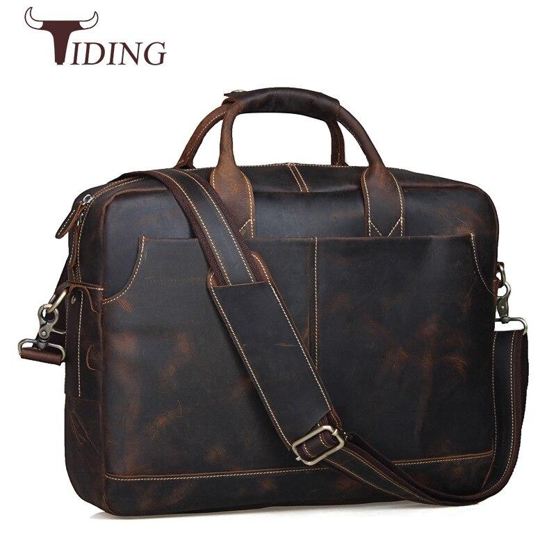 Tiding Genuine Leather Mens Bags Tote Crossbody Bags Men