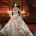 Venda quente em Estoque Frisada vestidos de noiva Bordado Embelezamento Champanhe Vestido De Casamento Fora Do Ombro vestido de Noiva de Luxo