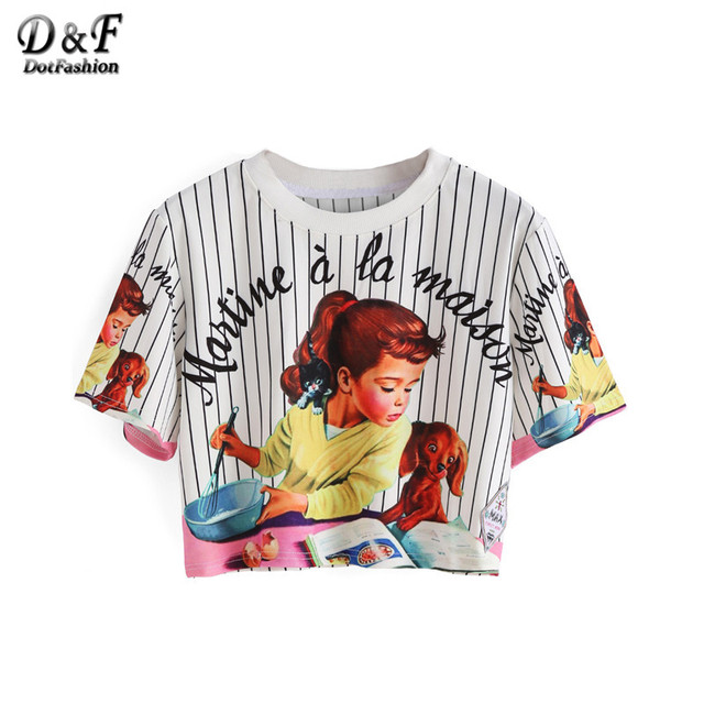 Dotfashion Women Vertical Striped Girl Print Crop Tops Summer Style Cute 2016 New Casual Ladies Tees Short Sleeve T-shirt