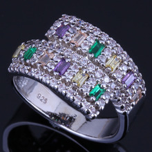 Lovely Multigem Multicolor Brown Cubic Zirconia White CZ 925 Sterling Silver Ring For Women V0669
