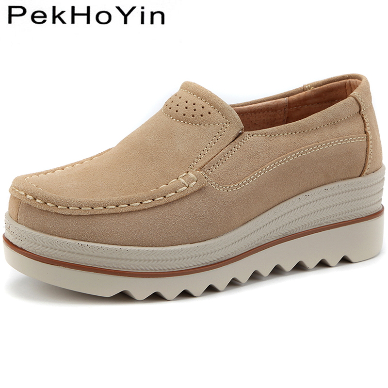Thick Heels   Leather     Suede   Women Flats Shoes Zapatos Mujer Female Casual Platform Shoes Girls Ladies Walking Creepers Sneakers