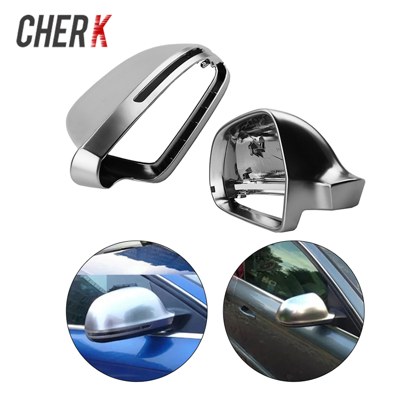 Cherk 1 Pair Matt Silvery Chrome Mirror Cover Rearview Side Mirror Cap For Audi A4 B8 A6 C6 A5 8T Q3 A3 8P Auto Parts виниловые обои grandeco ideco persian chic pc 2702