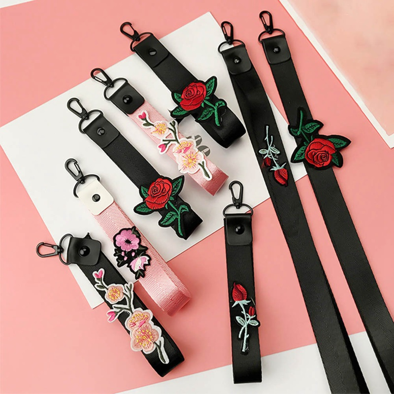 Mobile Phone Strap For One Plus 5t Rose Design Phone Hanging Strap Lanyard For IPhone X 8 Lanyard For Key Phone Decoration
