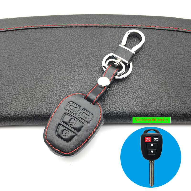 4 Buttons Remote Car <font><b>Key</b></font> Fob Shell <font><b>Case</b></font> Leather Cover For <font><b>Toyota</b></font> Highlander Camry <font><b>Corolla</b></font> RAV4 Vios Prius C 2012-2016 2017 <font><b>2018</b></font> image