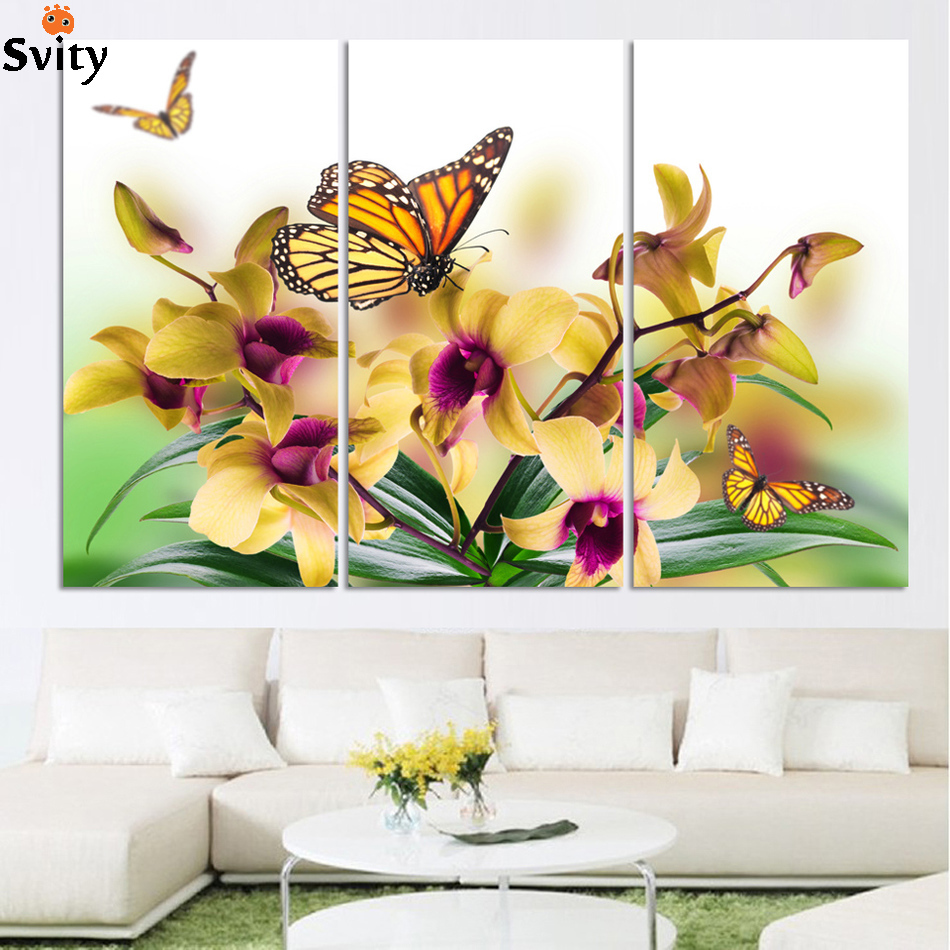 3 Panel Modern Abstract Flower Painting On Canvas Wall Art Cuadros ...
