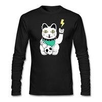 Maneki metal homem branco t-shirt rock n roll gráfico camisetas withmaneki neko cat adolescente manga longa 100% algodão vestuário