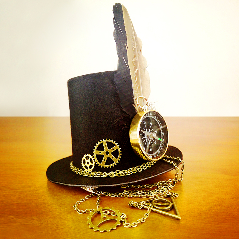 Retro Women Feather Hairclip Steampunk Mini Top Hat Lolita Cosplay Fedoras Hat Gothic Geer Compass Chain Head Wear Halloween Use