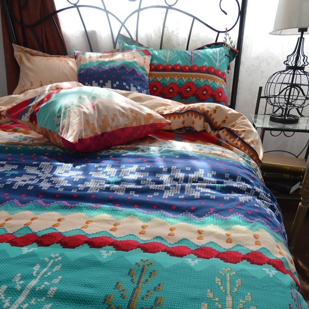 Fadfay Bohemia Retro Printing Bedding Sets Ethnic Vintage Floral Duvet Cover Sets Boho Bedding 100% Brushed Cotton Bedding Sets