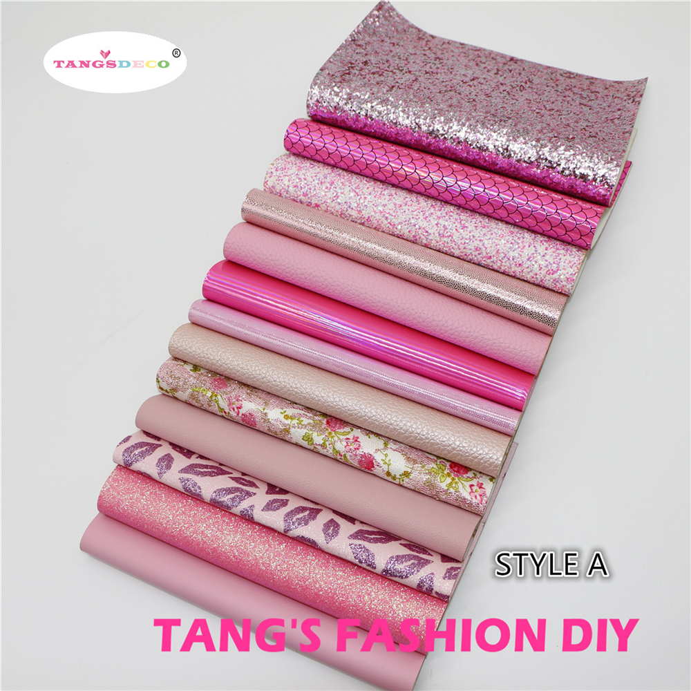 13pcs-STYLE A High Quality NEW MIX STYLE Pink Color Mix PU Leather Set/synthetic Leather Set/DIY Fabric Artificial Leather