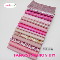 13pcs STYLE A High Quality NEW MIX STYLE Pink Color Mix PU Leather Synthetic Leather DIY