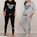 Women 2Pcs Mickey Tracksuit For Women Girls Hoodies Sweatshirt Pants Sportswear Clothing moletom Casual Suit