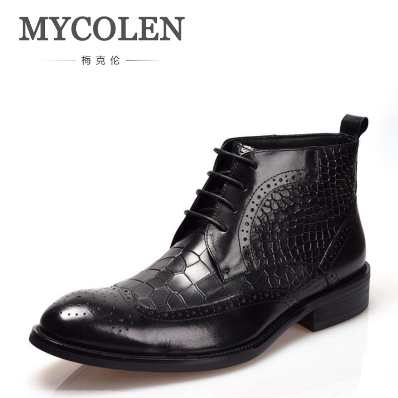 MYCOLEN Men's Shoes Lace Up Ankle Boot Platform Men Pointed Toe Motorcycle Winter Man Black Color Chelsea Botas Tenis Masculino black autumn men ankle boots pointed toe botas hombre lace up botas militares wedding dress shoes mens cowboy boot