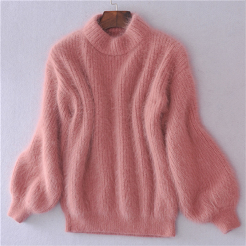 19 Winter New Fashion Thickened Warm Turtleneck Mohair Female Sweater Lantern Sleeve Casual Solid Color Slim Simple Pullover 8