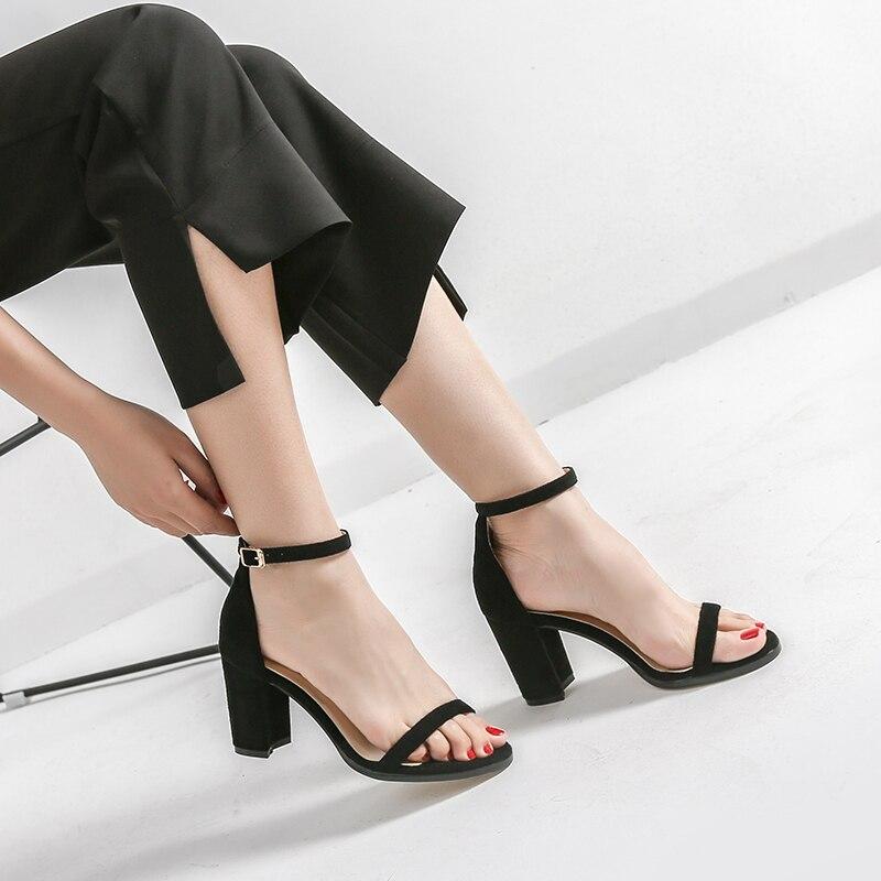 850ac7b824f 2019 Summer Elegant Fashion Woman 8cm Thick High Heels Sandals Female Block  Blue Heels Pumps Lady Chunky Gold Serpentine Shoes