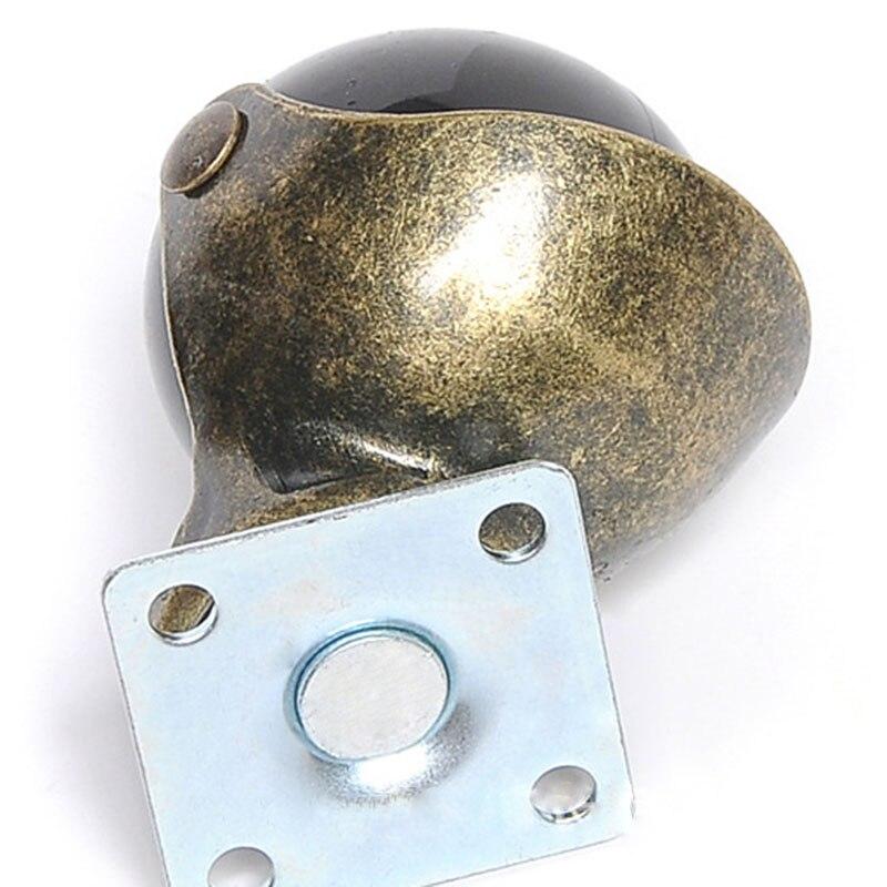 Útil [4 pacote] roda de rodízio de bola com capuz placa superior giratória, bronze antigo (1.5 polegadas com freio)-4