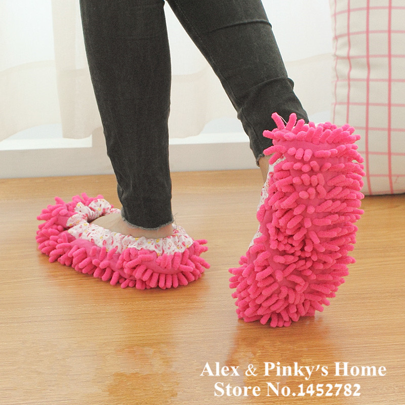 1pair Of Lazy Shenil Home Floor Cleaning Slipper Washable