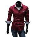 Новая Мода Бренд Мужской Одежды Slim Fit Мужчины С Длинным Рукавом рубашки мужчины pure color Повседневная рубашка Красивый человек LB