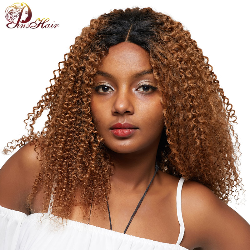 Pinshair Ombre Blonde Afro Kinky Curly Human Hair Wigs For Women T1B/30 Brazilian Lace Front Human Hair Wig Non-Remy Closure Wig