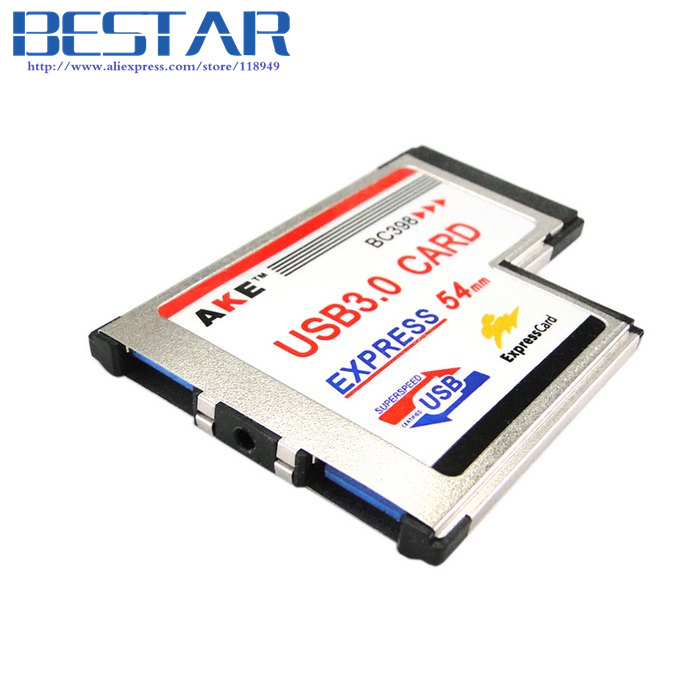 L type Dual Port USB 3.0 Express Card 34mm Notebook Adapter for Laptop NEC Chip