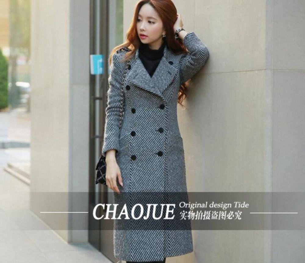a403f6483dea4 Hot! plus la taille de Femmes classique Sergé de laine manteau Coréen de  mode de Femmes mince De Laine tranchée manteau super long manteau!