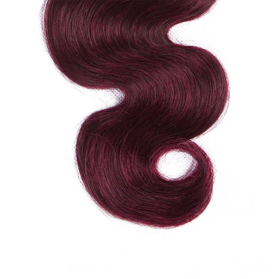 Плюс-Цвет ed 3 Связки эффектом деграде (переход от темного к бразильские волнистые волосы, для придания объема, бордовый пучки волос, T1B 99J красного цвета не Реми человеческие волосы плетение пучки волос