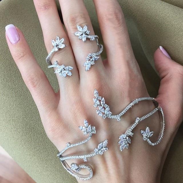 Solid Silver Fashion of fatima finger ring hand chain harness slave women New Multi Chain Harness