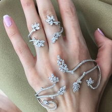 Katı Gümüş Moda fatima parmak yüzük el zinciri demeti slave kadınlar Yeni Çok Zincir Demeti Parmak Bilezik Kadınlar Için