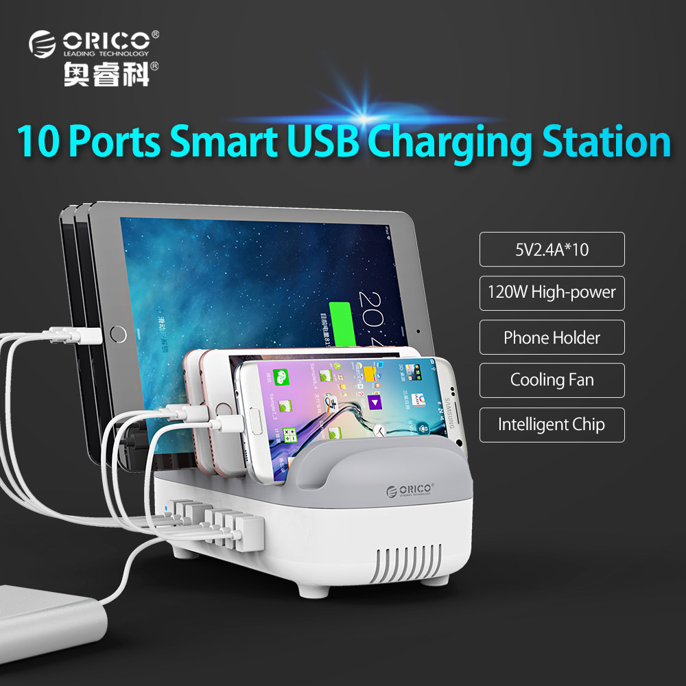 ORICO 10 Ports 120W 5V2.4A*10 USB Charger Dock Powerbus Charging Station with Holder for Phone Tablet PC Apply for Home Public xbox one controller charger usb triple charging dock station
