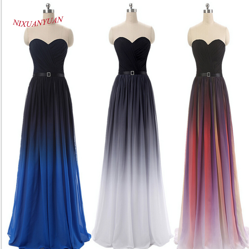 NIXUANYUAN Chiffon Long Party Dress 2017 Sweetheart A Line Prom Klänning 2017 Med Sashes Back Snörning Up Vestidos de baile 2016