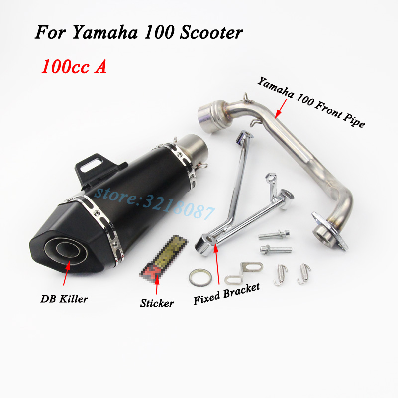 Slip On For Yamaha 100 GY6125 Motorycle Exhaust Full System Front Pipe Escape Moto Laser Marking Carbon Muffler With Sticker