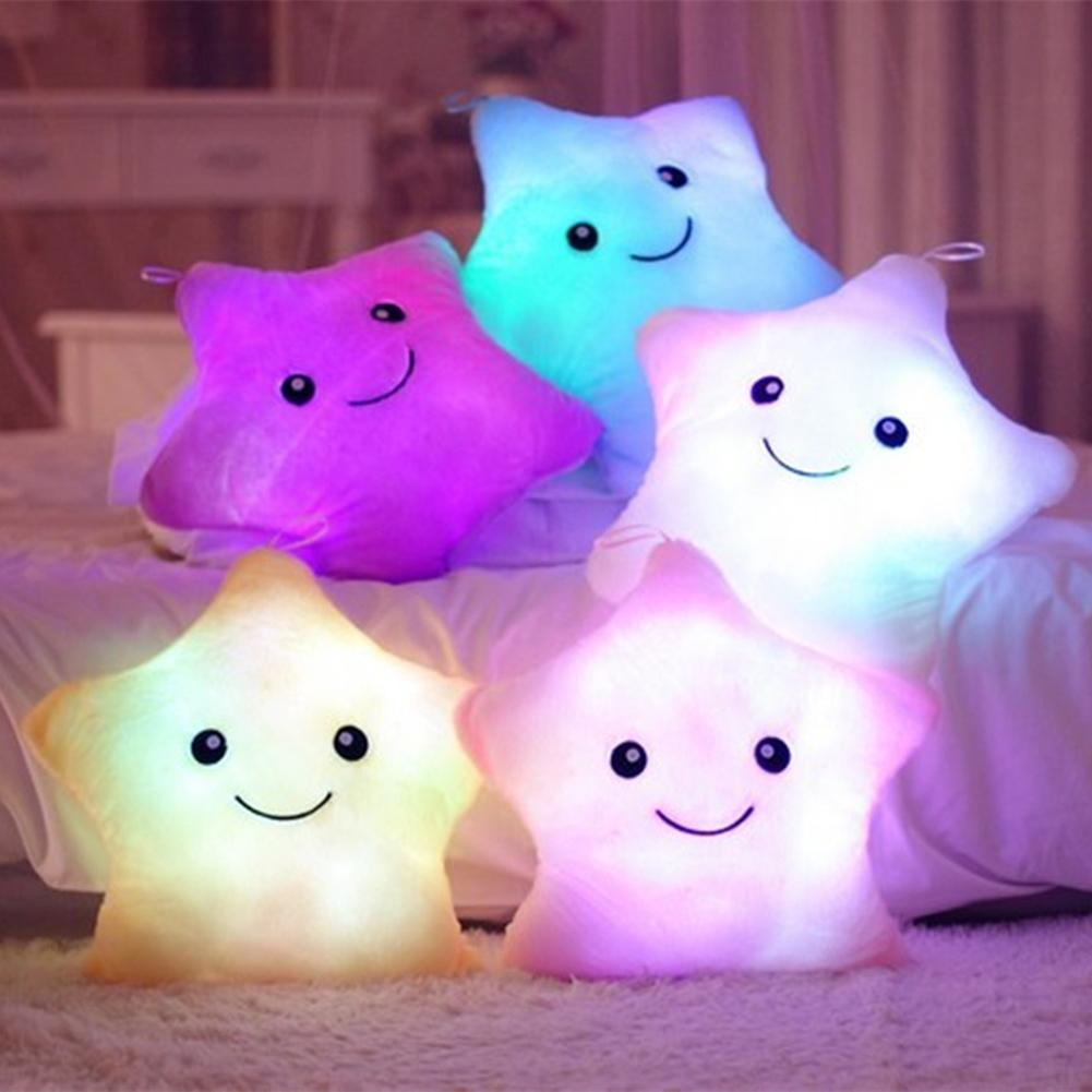 1pc Material PP Smile Star LED Glowing Light Stuffed Soft Plush Cushion Pillow Without Battery Home Sofa Decor