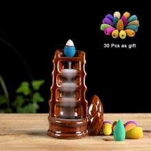 PINNY Glaze Backflow Incense Burner Ceramic Cone Holder Home Decoration Like Waterfalls Hollow Sandalwood Censer