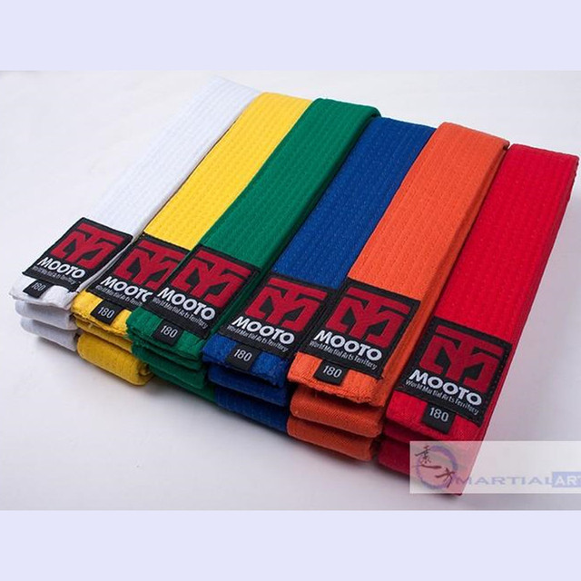 fea2eb5fc 100% ٪ أحزمة التايكوندو mooto أسود أحمر أخضر أصفر حزام الكاراتيه الجودو حزام  tkd الكاراتيه