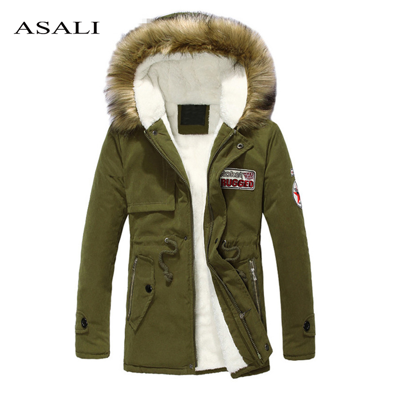 Thick Men Parkas 2019 Winter Fleece Slim Fits Jackets Mens Fur Hood Coat Casual Warm Long Outwear Top Male Brand Armygreen Black