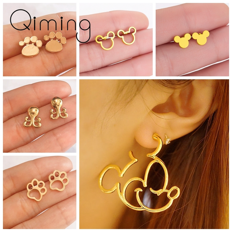 Girls Mickey Mouse Minnie Statement Earrings For Women Cartoon Animal Dog Paw Gold Silver Stud Earrings Baby Birthday Gift