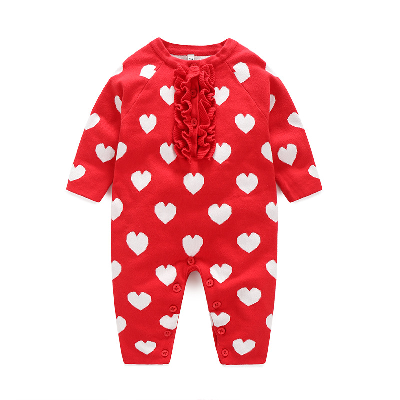 2018 New Spring&Autumn Baby Girls Clothes Long Sleeve One Piece Baby Romper Newborn Clothes Red  Sweaters Jumpsuit