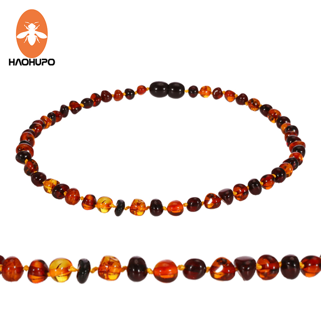 HAOHUPO Baltic Amber Teething Necklace for Babies (Unisex) Cherry with Cognac 10
