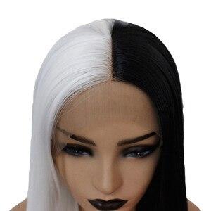 Image 5 - VNICE نصف أسود نصف أبيض اللون اليد تعادل الدانتيل الجبهة مستقيم شعر مستعار ارتفاع درجة الحرارة الاصطناعية الدانتيل شعر مستعار أمامي للنساء تأثيري