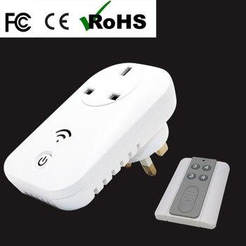 2017 nueva llegada 13a 110 V/ac220v eléctrico portátil socket Smart socket + inalámbrico Control remoto Inglaterra estándar envío libre
