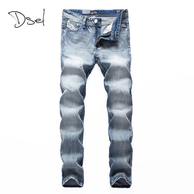 DSEL Brand Jeans Men High Quality Light Blue British Stylish Pants Designer Men Ripped Jeans Cotton Denim Distressed Trousers