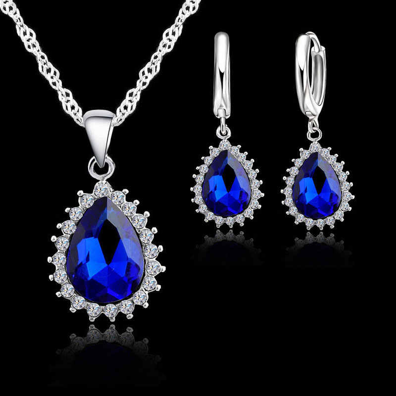 Trendy 925 Sterling Silver Bridal Jewelry Sets Women Water Drop Crystal Pendants Necklace Earrings For Engagement Bijoux