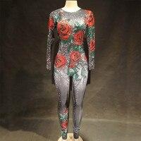 Комбинезон с яркими кристаллами и розами, Женский карнавальный наряд, вечерние костюмы сценическая одежда, боди, танцевальная певица, пижам